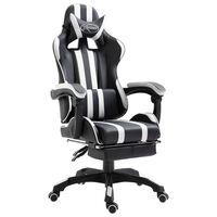 vidaXL Žaidimų kėdė su atrama kojoms, balta, dirbtinė oda