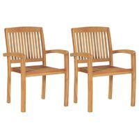 vidaXL Sudedamos sodo valgomojo kėdės, 2vnt., tikmedžio masyvas