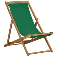 vidaXL Sulankstoma paplūdimio kėdė, žalia, tikmedžio medienos masyvas