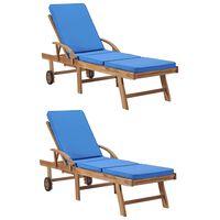 vidaXL Saulės gultai su pagalvėmis, 2vnt., mėlyni, tikmedžio masyvas