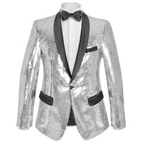 vidaXL Vyriškas švarkas su blizgučiais Tuxedo, sidabrinis, dydis 65
