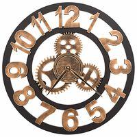 vidaXL Sieninis laikrodis, auksinės ir juodos spalvos, 58 cm, metalas
