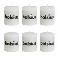 Bolsius Kaimiško stiliaus žvakės, forminės, 80 x 68 mm, baltos, 6 vnt.