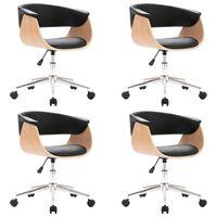 vidaXL Valgomojo kėdės, 4vnt., juodos, dirbtinė oda, pasukamos