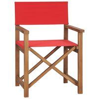 vidaXL Režisieriaus kėdė, raudonos spalvos, tikmedžio medienos masyvas