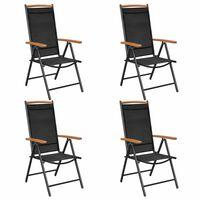 vidaXL Sulankstomos sodo kėdės, 4 vnt., aliuminis ir tekstil., juodos