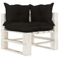 vidaXL Kampinė sodo sofa iš palečių su juodomis pagalvėmis, mediena