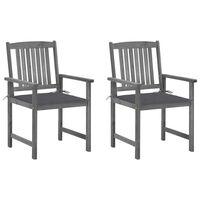 vidaXL Režisieriaus kėdės su pagalvėlėmis, 2vnt., pilkos, akacija