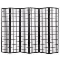 vidaXL Kamb. pertvara, sulankst., 6 plokšt., japon., 240x170cm, juoda