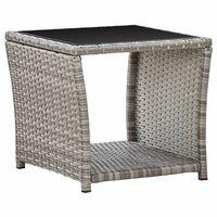 vidaXL Kavos staliukas, pilkas, 45x45x40cm, poliratanas ir stiklas