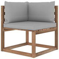 vidaXL Kampinė sodo sofa iš palečių su pilkomis pagalvėlėmis