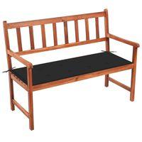 vidaXL Sodo suoliukas su pagalvėle, 120cm, akacijos medienos masyvas