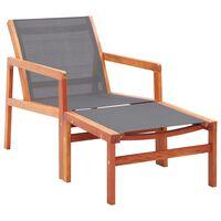 vidaXL Sodo kėdė su pakoja, pilka, eukalipto masyvas ir tekstilenas