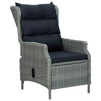 vidaXL Atlošiama sodo kėdė su pagalvėlėmis, pilka, poliratanas