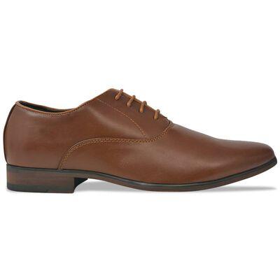vidaXL Vyriški batai, suvarstomi, rudi, dydis 43, PU oda