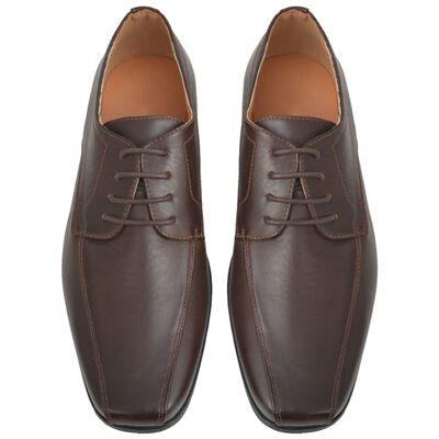 vidaXL Vyriški batai, suvarstomi, rudi, dydis 40, PU oda