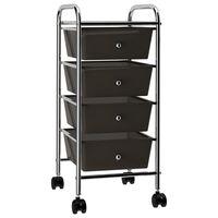 vidaXL Mobilus vežimėlis, 4 stalčiai, juodos spalvos, plastikas