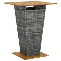 vidaXL Baro staliukas, pilkas, 80x80x110cm, poliratanas ir akacija