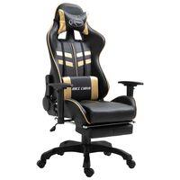 vidaXL Žaidimų kėdė su atrama kojoms, auksinė, dirbtinė oda