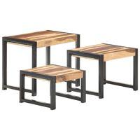 vidaXL Sudedami staliukai, 3vnt., mediena su dalbergijos apdaila