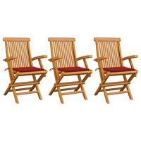 vidaXL Sodo kėdės su raudonomis pagalvėmis, 3vnt., tikmedžio masyvas