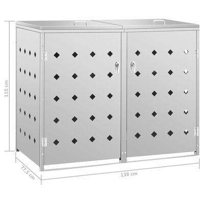 vidaXL Dvivietė konteinerių su ratukais pastogė, 240l, plienas