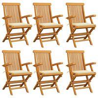 vidaXL Sodo kėdės su kreminėmis pagalvėlėmis, 6vnt., tikmedžio masyvas