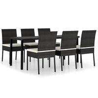 vidaXL Sodo valgomojo baldų komplektas, 7 dalių, juodas, poliratanas