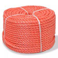 vidaXL Susukta virvė, polipropilenas, 10mm, 100m, oranžinė