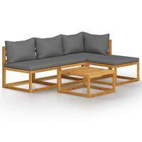 vidaXL Sodo baldų komplektas su pagalvėmis, 5 dalių, akacijos masyvas