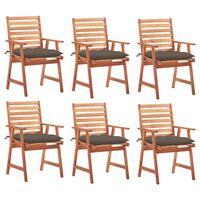 vidaXL Lauko valgomojo kėdės su pagalvėlėmis, 6vnt., akacija