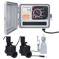 vidaXL Laistymo sistemos valdiklis su lietaus jutikliu ir vožtuvu
