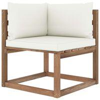 vidaXL Kampinė sodo sofa iš palečių su kreminėmis pagalvėlėmis
