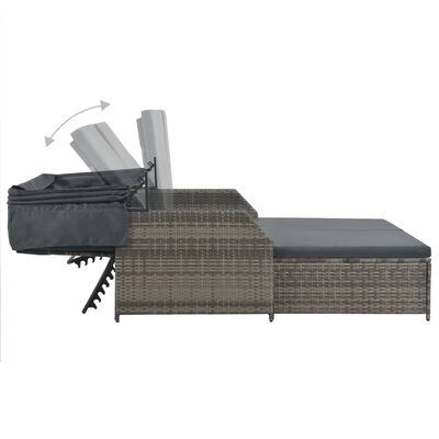 vidaXL Dvivietis saulės gultas su stogeliu, pilkas, poliratanas, Pilka