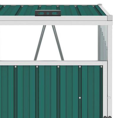 vidaXL Konteinerių stoginė, žalia, 213x81x121cm, plienas, trivietė