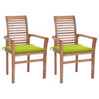 vidaXL Valgomojo kėdės su žaliomis pagalvėlėmis, 2vnt., tikmedis