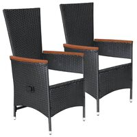 vidaXL Lauko kėdės, 2 vnt., juodos spalvos, poliratanas, su pagalvėmis