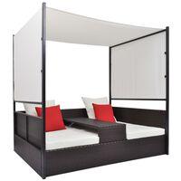 vidaXL Sodo gultas su skliautu, rudas, 190x130cm, poliratanas