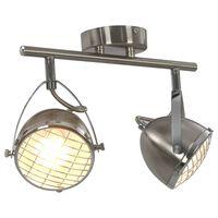 vidaXL Taškinis šviestuvas, sidabrinės spalvos, 2 krypčių, GU10
