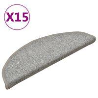 vidaXL Laiptų kilimėliai, 15vnt., šviesiai pilkos spalvos, 56x17x3cm