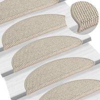 vidaXL Lipnūs laiptų kilimėliai, 15vnt., taupe spalvos, 56x20cm