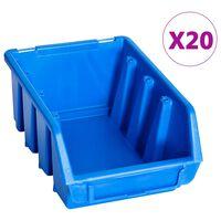 vidaXL Sudedamos sandėliavimo dėžės, 20vnt., mėlynos, plastikas