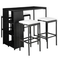 vidaXL Lauko valgomojo baldų kompl. su pagalv., 5d., juod., polirat.