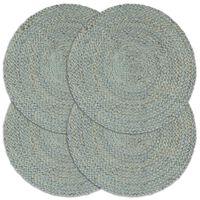 vidaXL Stalo kilimėliai, 4 vnt., žali, 38cm, džiutas, apvalūs